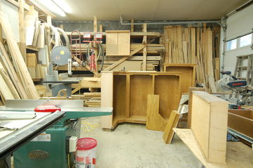 Cabinets and Wood in Shop