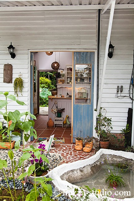 The wooden house and handmade furniture