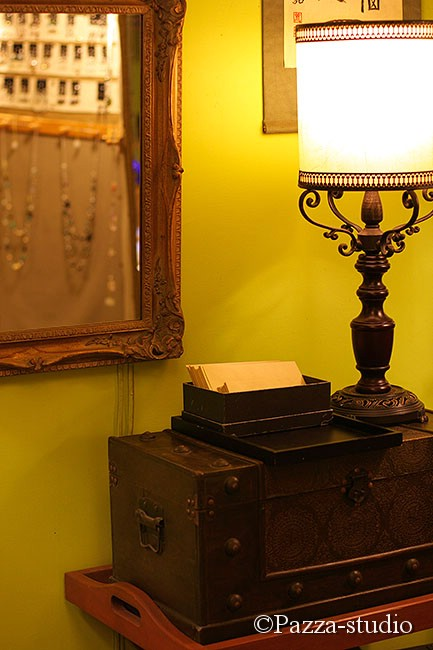 French chest, mirror and lamp