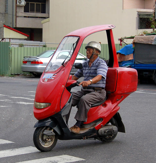 Red Scooter with Cover