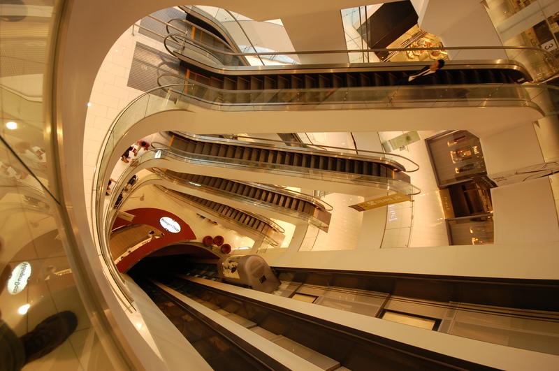 Looking down in fancy shopping center