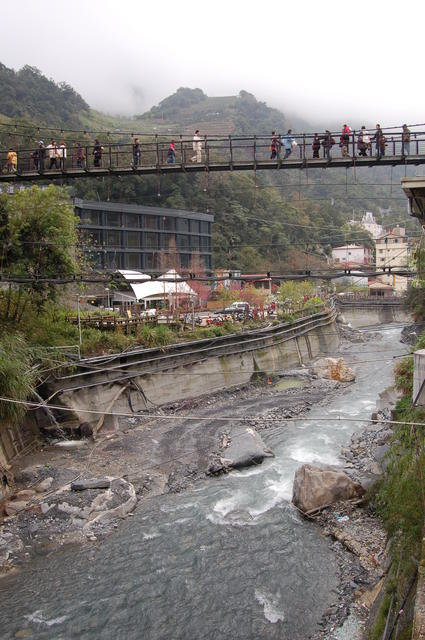 Lushan Suspension Bridge and River