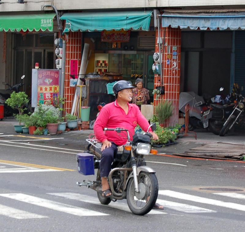 Pink Shirt Motorcycle Guy