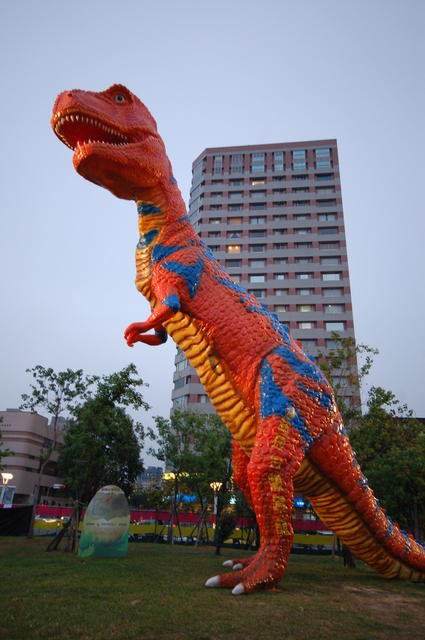 Dinosaur dominates building