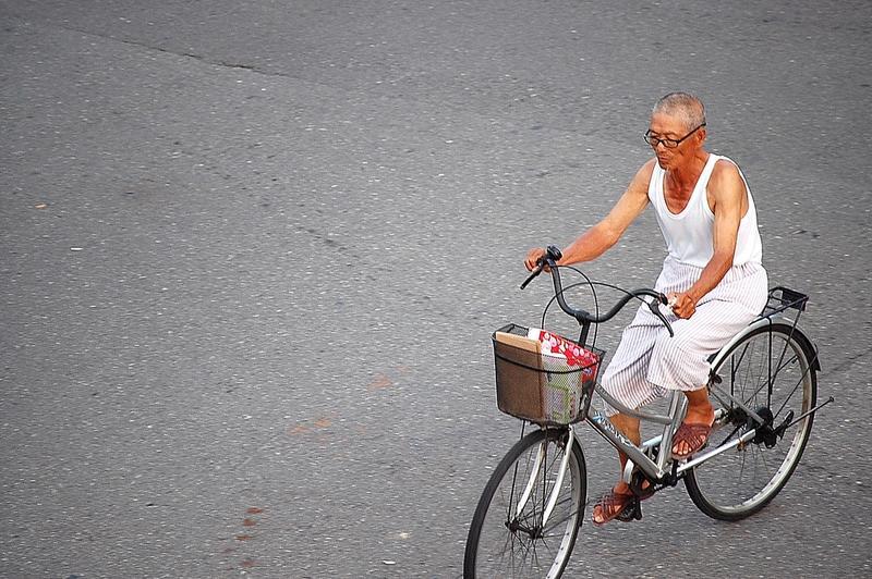 Old man on a bicylce