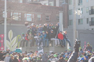 Crowd on Rooftop  Seahawks Parade