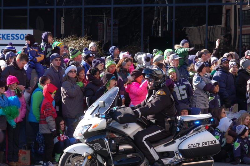 Motorcycle Police keeping the crowd at bay